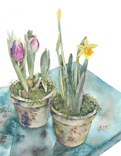 Potted Spring Watercolour Painting