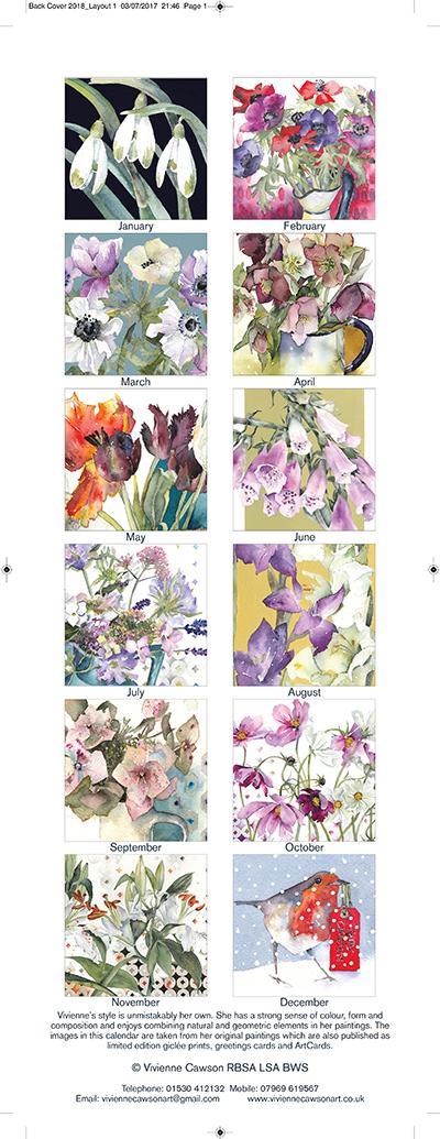 2018 Flower Watecolour Calendar