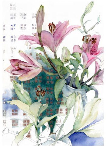 Watercolour of emerging lilies