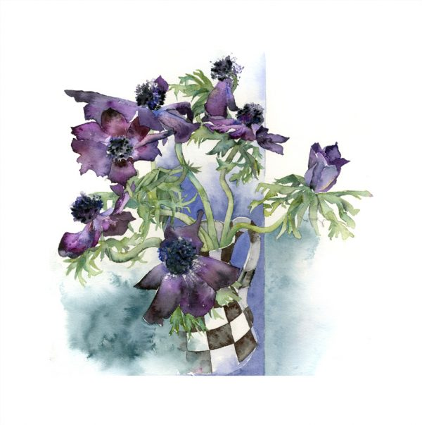 Blue-Anemones-in-Checked-Jug