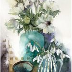 Watercolour white flowers