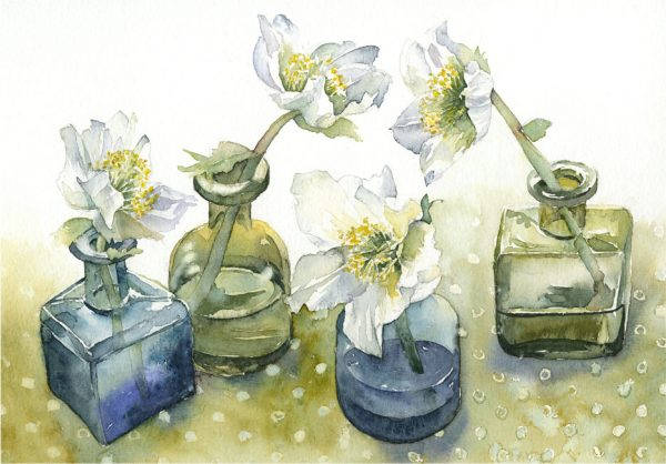 Helebores-in-Ink-Bottle-Vases