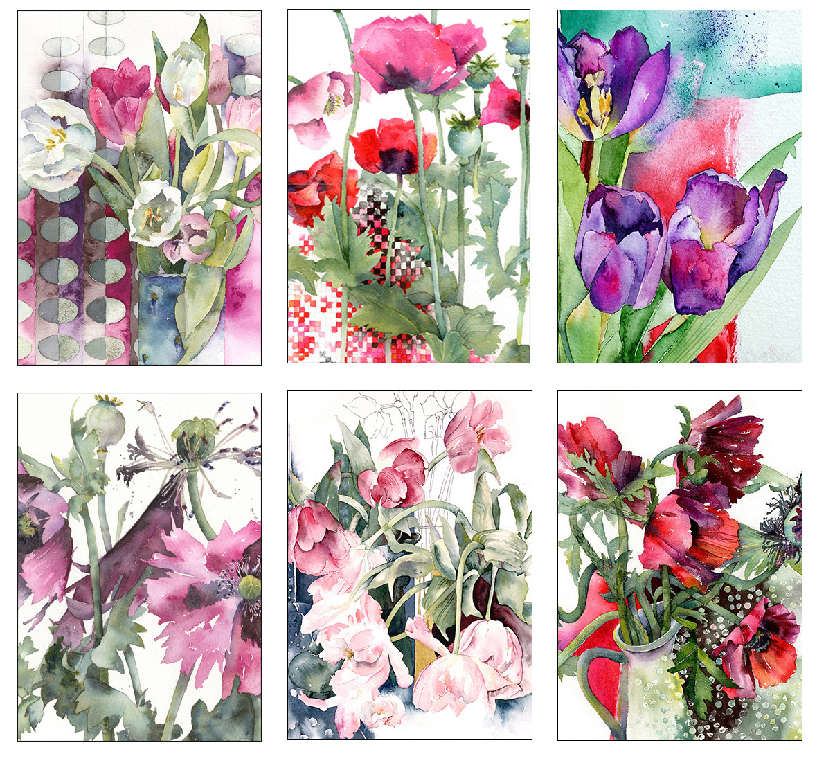 Tulip and Poppy Collection – 6 Greetings Cards