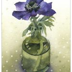 Blue Anemone in Round Ink Bottle
