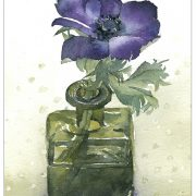 Blue Anemone in Square Ink Bottle